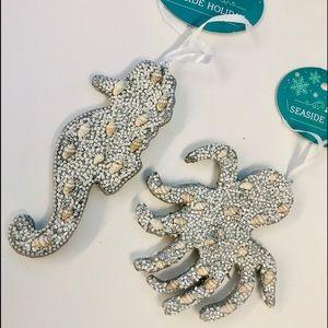 NWT beaded seahorse & octopus ornaments